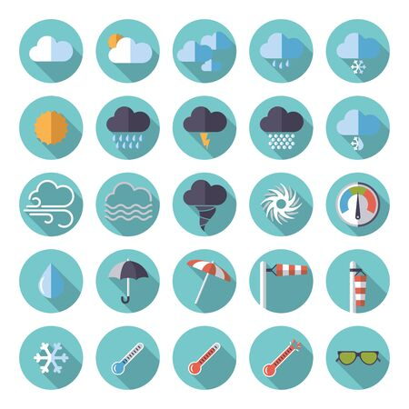 heatwave: Weather and climate flat design round icons Illustration