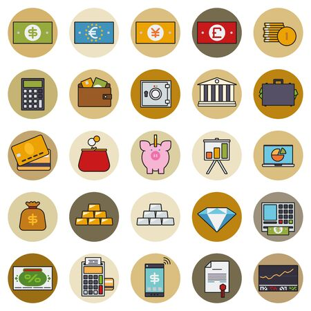 stockmarket chart: Money, Finance and Banking icons in circles
