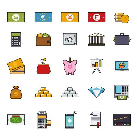 stockmarket chart: Money, Finance and Banking line icons with color fill