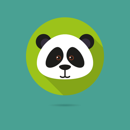 Flat design icon of cute panda bear face 向量圖像
