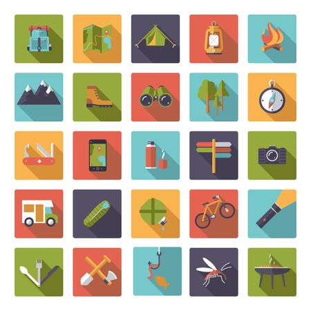 geocaching: Flat design camping, hiking and outdoor pursuit vector icons in rounded squares Illustration