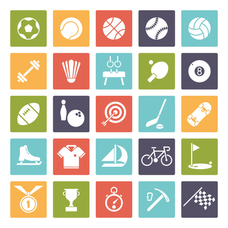 pommel: Collection of 25 solid color square sports and gymnastics vector icons