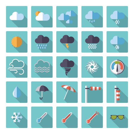 heatwave: Weather and climate flat design vector icons in rounded squares