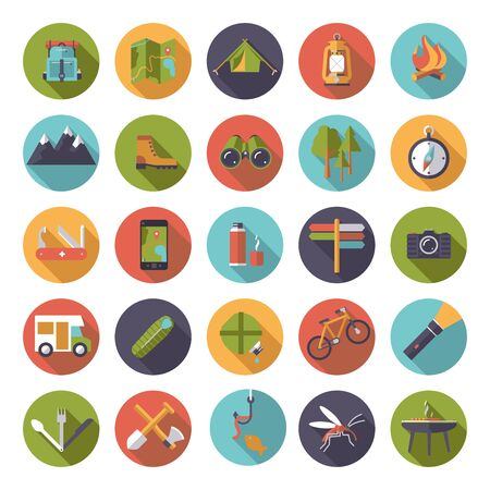 flat design camping, hiking and outdoor pursuit vector icons in circles