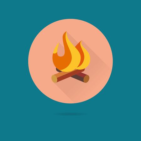 fleming: Flat design vector icon of log fire Illustration