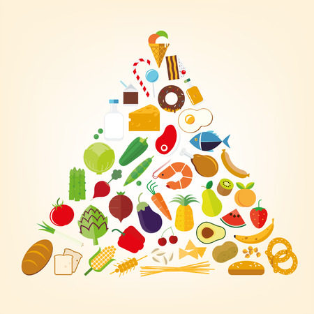 nutritional pyramid flat design food vector symbols