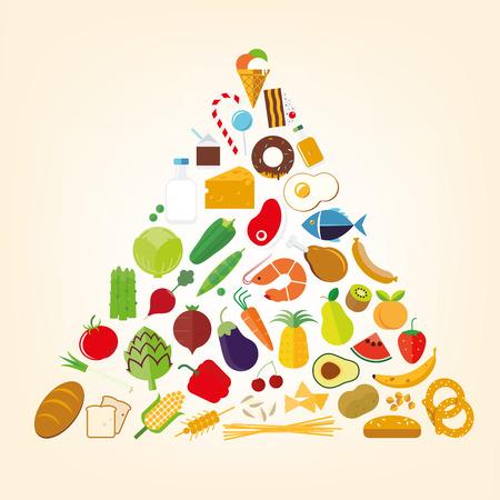piramide nutricional: pirámide nutricional de diseño plana símbolos vectoriales alimentos