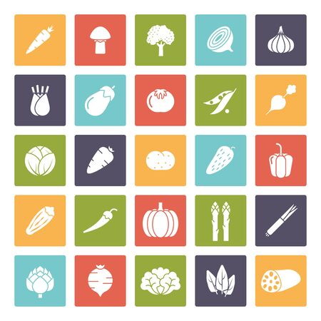 Gemüseikonen, negativ in farbigen Quadraten