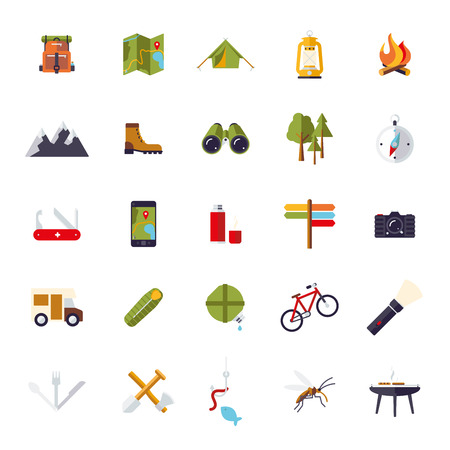 geocaching: Flat design camping, hiking and outdoor pursuit vector icon