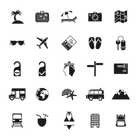 Collection de vecteur plat voyage de conception et de vacances icônes