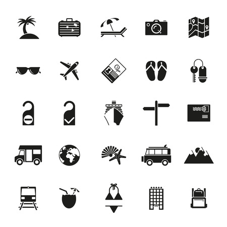 Collection of flat design travel and vacation vector icons Stock Illustratie
