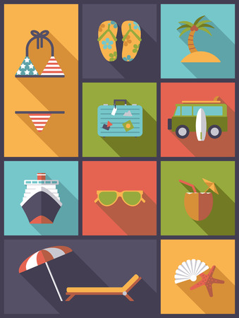 collage: Vertical flat design illustration with summer holidays and vacations symbols