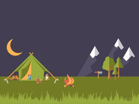 hiking boot: Illustration of camping scene at night, flat design style