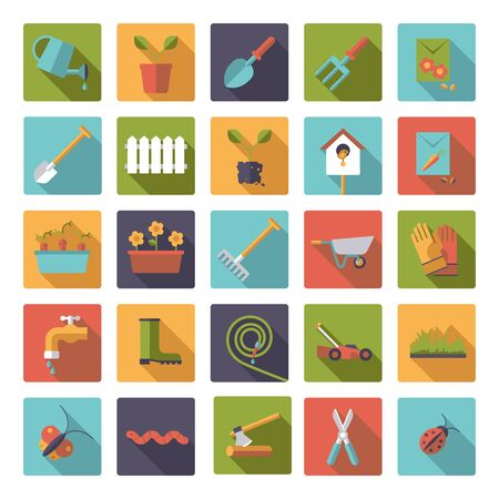 raking: Collection of flat design gardening vector icons in rounded squares