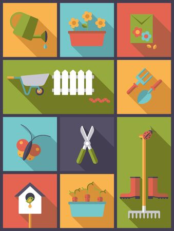 tools icon: vertical flat design illustration with gardening and garden symbols