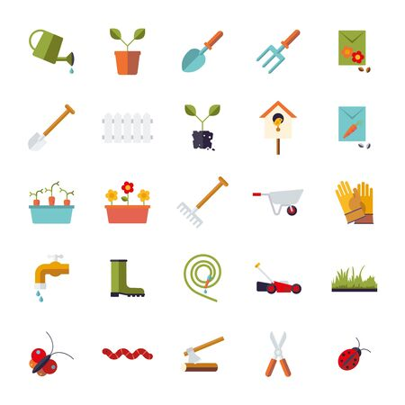 garden design: Collection of isolated flat design gardening vector icons Illustration