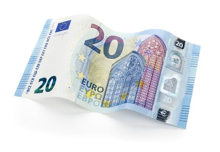 euro bill: New twenty Euro bill from 2015 on white background, isolated with clipping path Stock Photo
