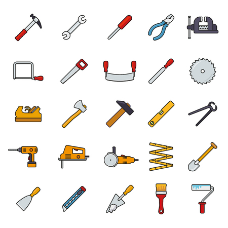 angle grinder: Collection of filled line tools and crafting icons isolated on white background