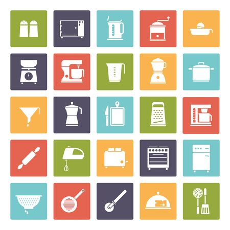 colander: Set of 25 kitchen and cooking related icons, negative in colored rounded squares