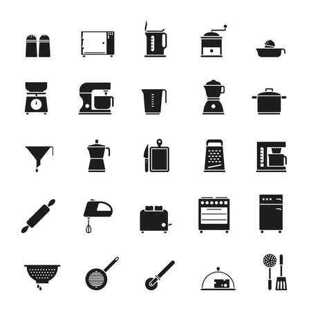 Set of 25 solid black kitchen and cooking related icons
