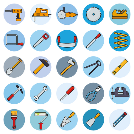 spirit level: Collection of filled line tools and crafting icons in blue circles