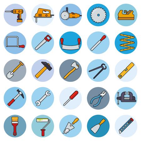 Het verzamelen van gevulde line tools en crafting iconen in blauwe cirkels Stock Illustratie