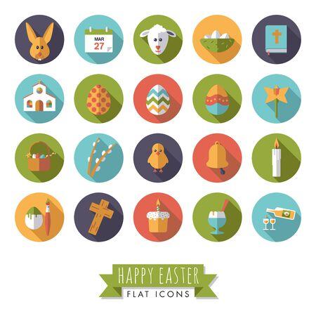 Happy Easter plat design Vector iconen in Circles Set Stock Illustratie