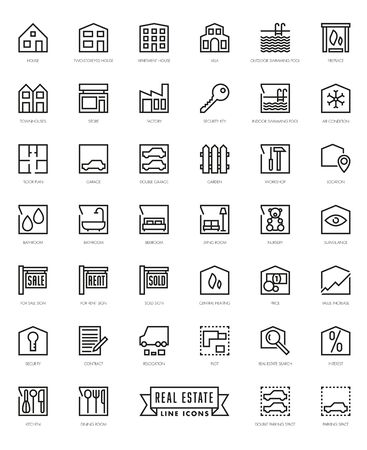 themed: Real Estate Themed Square line Icons Collection