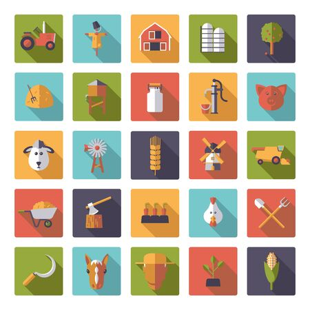 rounded squares: Flat design farm and agriculture vector icons in rounded squares