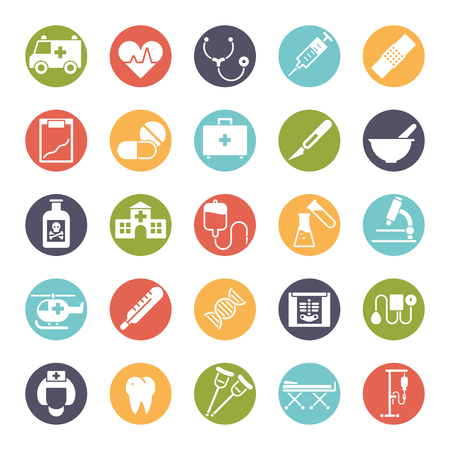 Collection of medical and healthcare related icons in colored circles Illustration