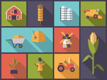 silos: Agriculture symbols flat design vector illustration