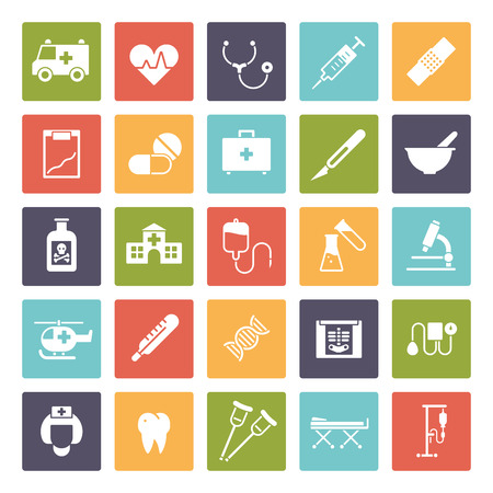 iv drip: Collection of 25 medical and healthcare related glyph icons in colored squares