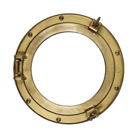 Porta de cobre amarillo de la vendimia aislado con el camino de recortes en el fondo blanco Foto de archivo - 53973000