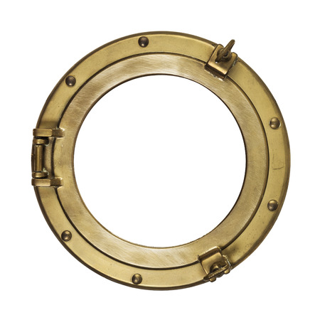 Vintage brass porthole isolated with clipping path on white background