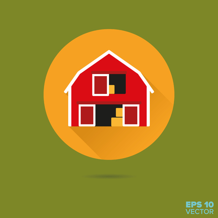 red wooden barn flat design vector icon Illustration