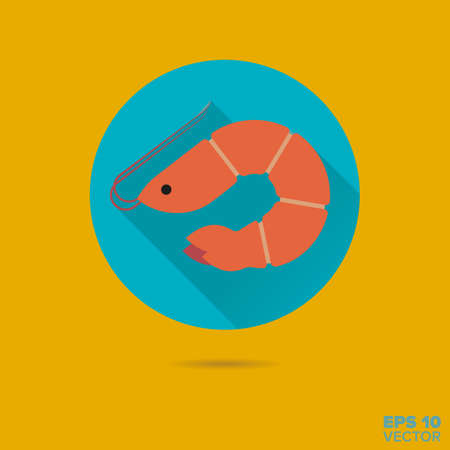 prawn: Prawn flat design vector icon
