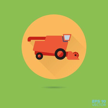 harvester: combine harvester flat design vector icon Illustration
