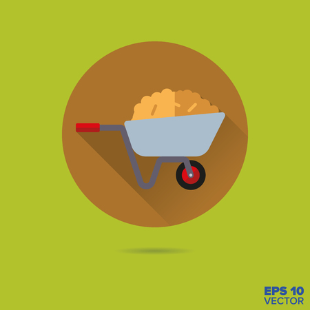 manure: wheelbarrow with hay flat design vector icon