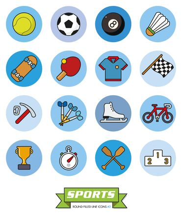 ice ax: Round sports filled line vector icons Part 2 Illustration