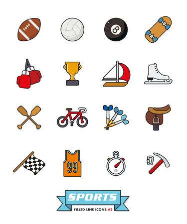 ice ax: Collection of sports filled line vector icons Part 2 Illustration