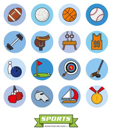 weightlifting gloves: Round sports filled line vector icons Part 1 Illustration