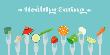 Gesunde Ernährung Konzept. Vielfalt von Obst und Gemüse sticked auf Gabel flach, Design, Illustration
