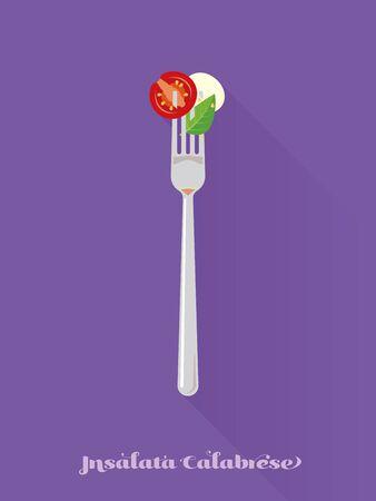 mozzarella: insalata calabrese on a fork flat design long shadow vector illustration
