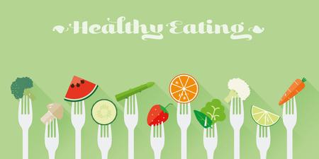 concetto di mangiare sano. Varietà di frutta e verdura sticked sulle forcelle design piatto lunga ombra illustrazione Vettoriali