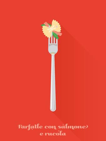 cooking recipe: farfalle con salmone pasta on a fork flat design long shadow vector illustration Illustration
