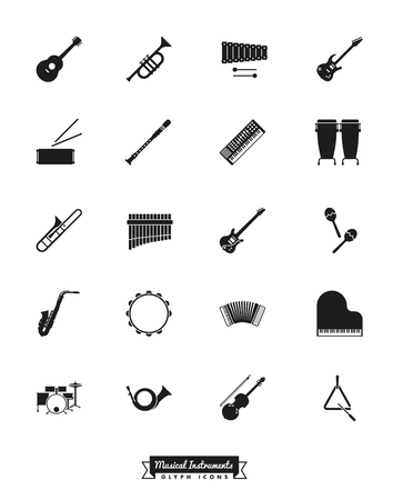 brass wind: Musical Instruments Glyph Icon Set