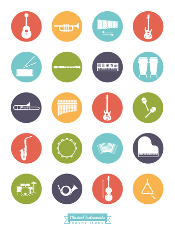 instruments: Musical instrument icon set, negative in colored circles