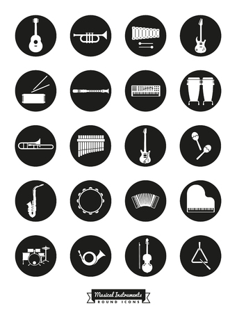 triangle musical instrument: Musical instrument icon set, negative in black circles