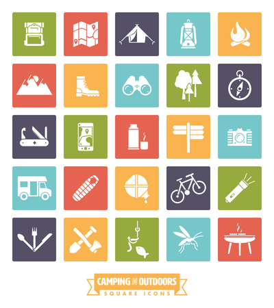 geocaching: camping, hiking and outdoor pursuit square vector icon collection Illustration
