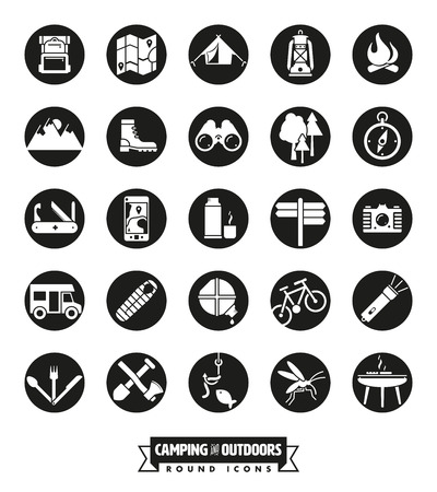geocaching: camping, hiking and outdoor pursuit vector round icon collection Illustration